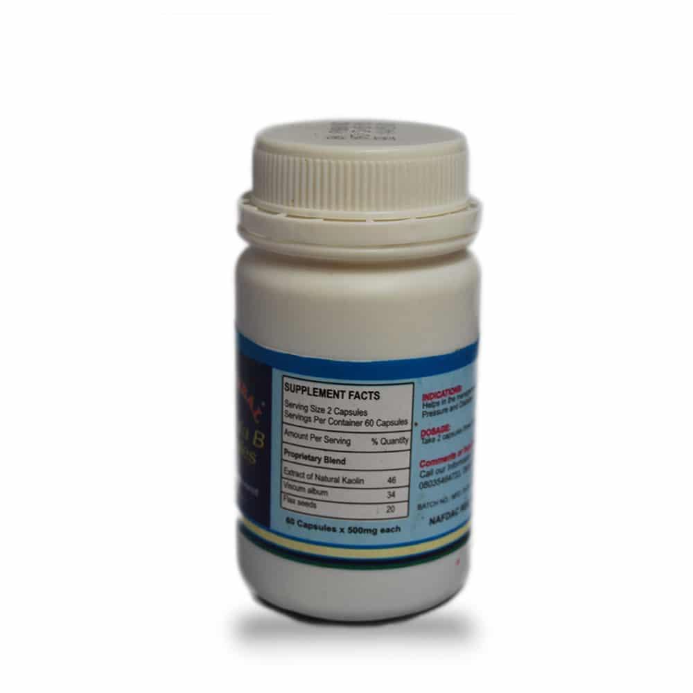 Paxherbal Formula B Capsules product image back side