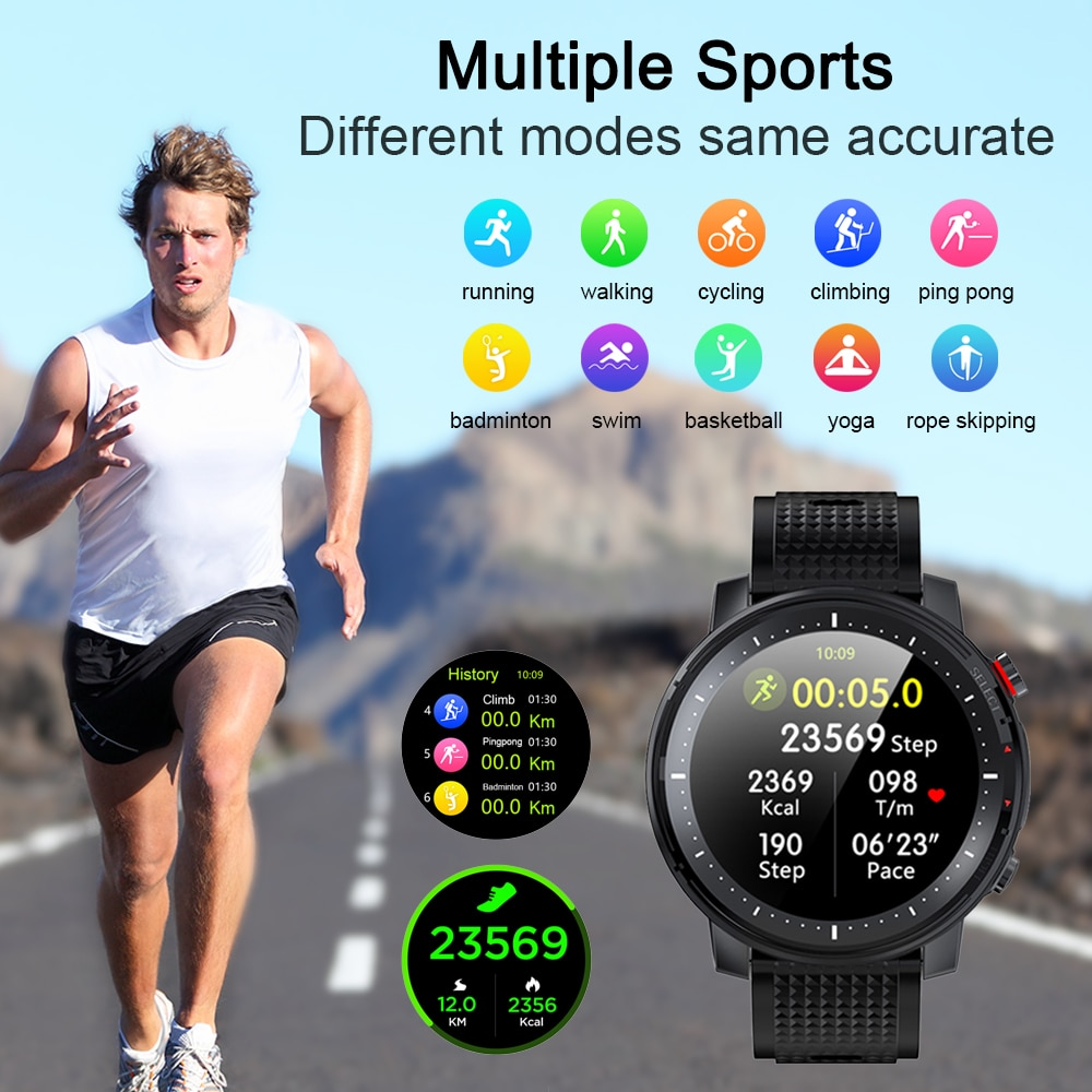 2021 Full touch Smart Watch Men Sports Clock IP68 Waterproof Heart Rate Monitor Smartwatch for IOS Android phone 5