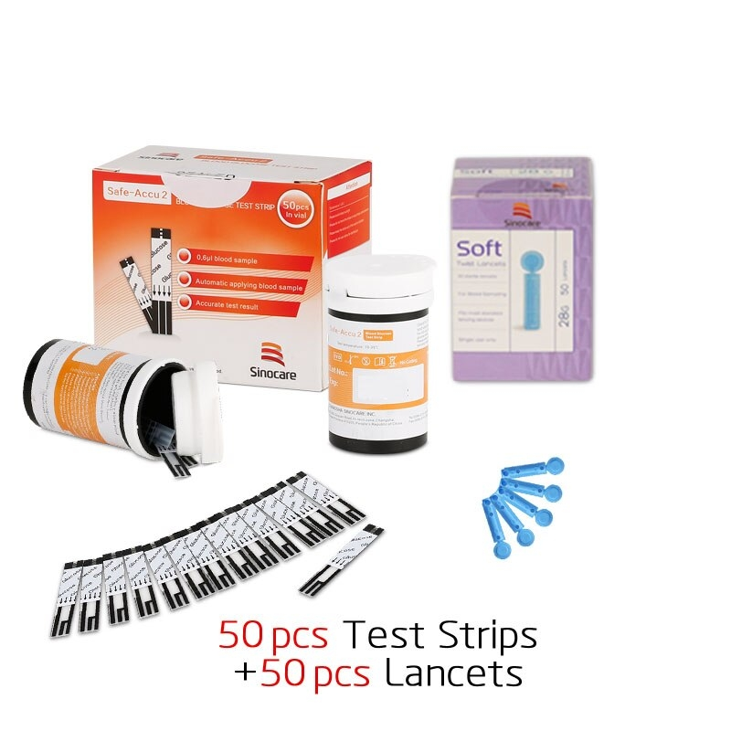 Sinocare Safe blood glucose test strips with 50/100/200pcs Lancets Needles Blood Sugar Detection Glucose